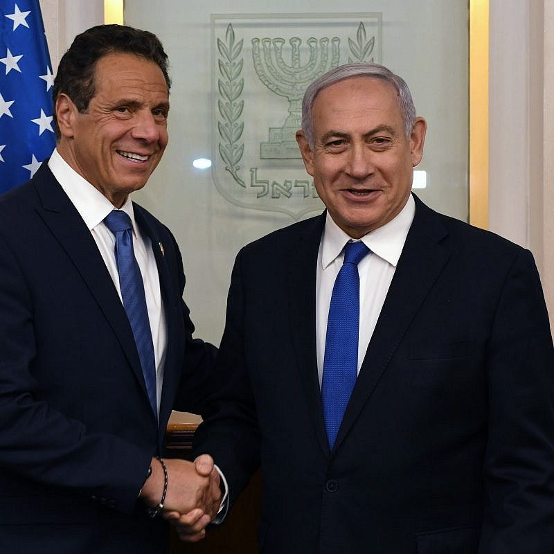 Israeli Prime Minister Benjamin Netanyahu meets with New York Gov. Andrew Cuomo at the Prime Minister's Office in Jerusalem on June 27, 2019. Credit: Kobi Gideon/GPO.