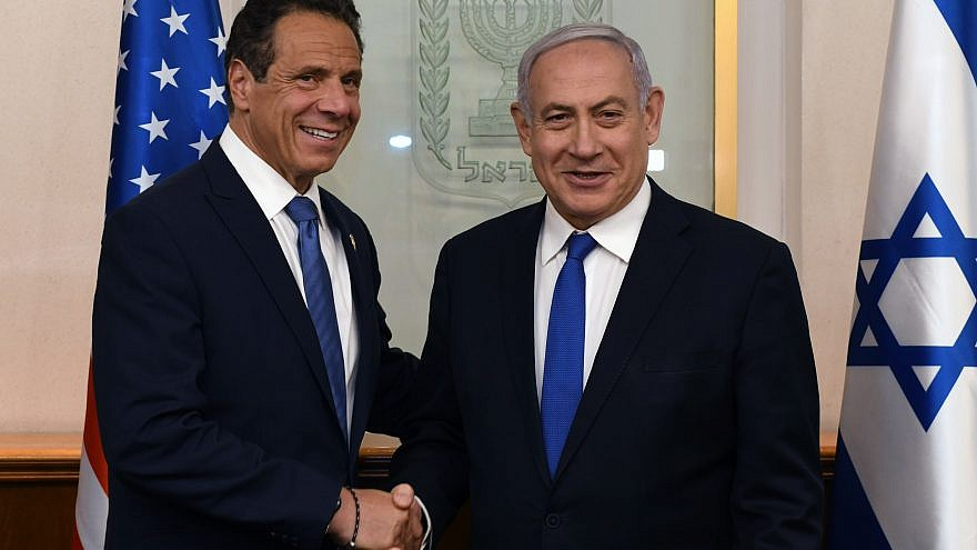 Israeli Prime Minister Benjamin Netanyahu meets with New York Gov. Andrew Cuomo at the Prime Minister's Office in Jerusalem on June 27, 2019. Credit: Kobi Gideon/GPO.