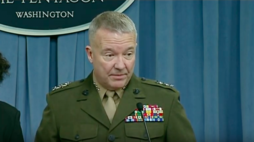 Then-Marine Corps Lt. Gen. Kenneth McKenzie Jr., briefs reporters at the Pentagon on Jan. 11, 2018. Credit: Screenshot.