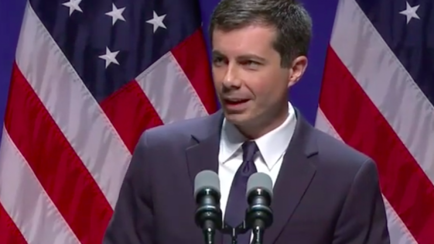 Pete Buttigieg, mayor of South Bend, Ind., gives a speech on foreign policy and national security at the University of Indiana, Bloomington, on June 11, 2019. Credit: Screenshot.
