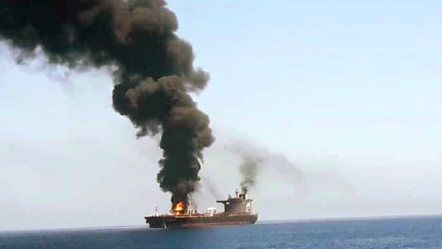 Two oil tankers were attacked on June 13, 2019, in the Gulf of Oman, less than one month after Iran was blamed for attacking four oil tankers off the coast of the United Arab Emirates. Credit: Screenshot.