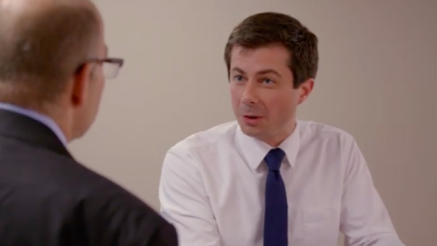 Pete Buttigieg, mayor of South Bend, Ind., talks to Axios co-founder and executive editor Mike Allen in an interview for HBO. Credit: Screenshot.