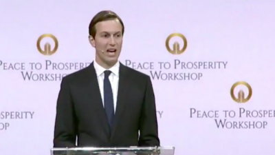 "White House senior adviser and presidential son-in-law Jared Kushner addresses the ""Peace to Prosperity Workshop"" in Manama, Bahrain, as part of the Trump administration's Mideast peace plan, June 25, 2019. Credit: Screenshot."