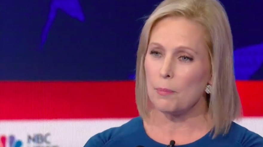 Sen. Kirsten Gillibrand (D-N.Y.) at the second of two Democratic presidential primary debates in Miami on June 27, 2019. Credit: Screenshot.