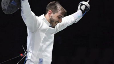 Yuval Freilich, 24, won the European Fencing Championship on June 18, 2019, becoming the first Israeli to do so. Credit: European Fencing Confederation website.