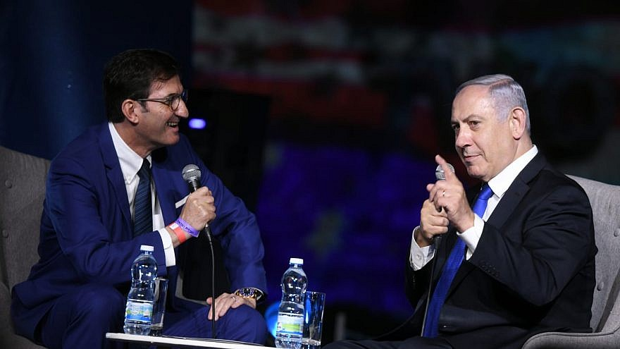 """""""Israel Hayom"""" editor in chief Boaz Bismuth with Israeli Prime Minister Benjamin Netanyahu in Jerusalem on June 28, 2019. Photo by Yossi Zeliger."""