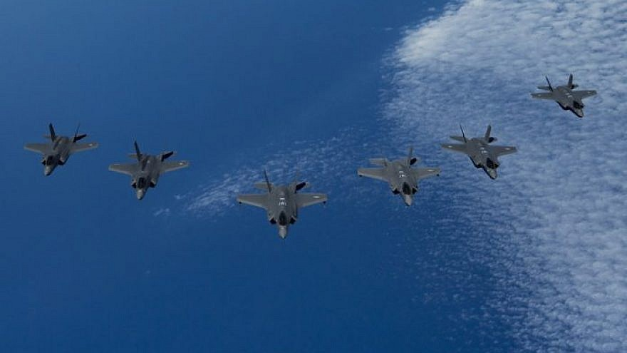 U.S. Air Force F-35A Lightning IIs (center) lead a formation of Royal Air Force F-35B Lightnings (left) and Israeli Air Force F-35I Lightning IIs (right) during Exercise Tri-Lightning over the Mediterranean Sea on June 25, 2019. Photo: Staff Sgt. Keifer Bowes/U.S. Air Force.