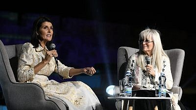 Dr. Miriam Adelson (right) interviews former U.S. Ambassador to the United Nations Nikki Haley. Photo by Yossi Zeliger.