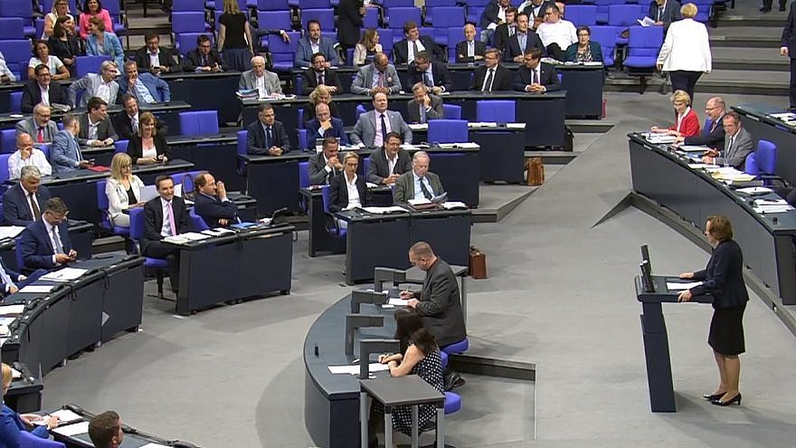 Alternative for Deutschland (AfD) MP Beatrix Von Storch addressing German lawmakers on a proposal to fully ban the Lebanese terror group Hezbollah. Credit: Screenshot.