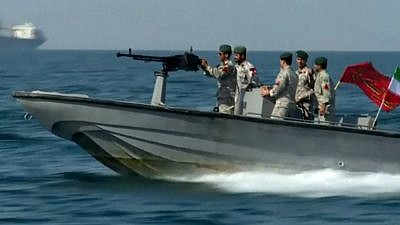 Iranian patrol boat in the Gulf of Oman last Friday amid the attack on two ships in the region. Credit: Screenshot.
