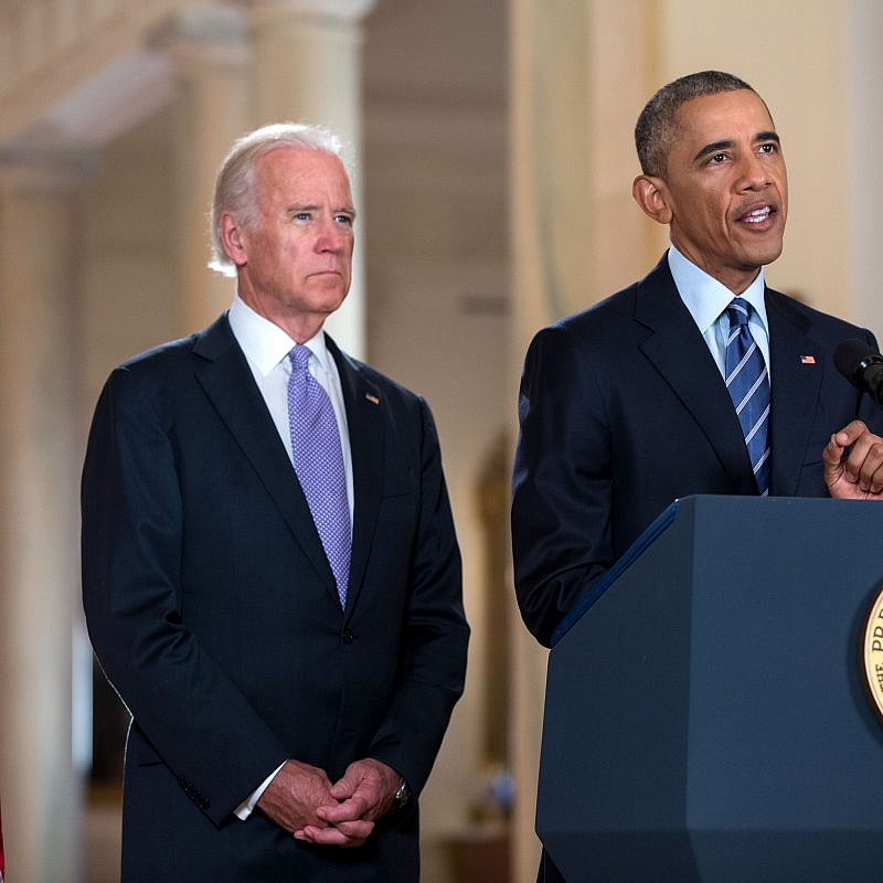 Former U.S. President Barack Obama, flanked by Vice President Joe Biden, delivers a statement on the Iran nuclear agreement in the East Room of the White House on July 14, 2015. Credit: Official White House Photo by Pete Souza.