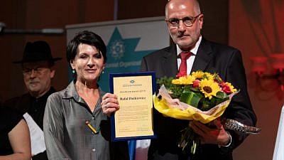 Former mayor of Wroclaw Rafal Dutkiewicz is awarded the World Zionist Organization's Jerusalem Prize for 2019. Credit: WZO.