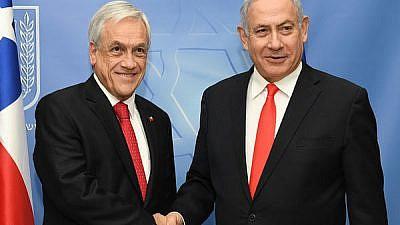 Israeli Prime Minister Benjamin Netanyahu with Chilean President Sebastián Piñera in Jerusalem. Credit: GPO/Kobi Gideon.