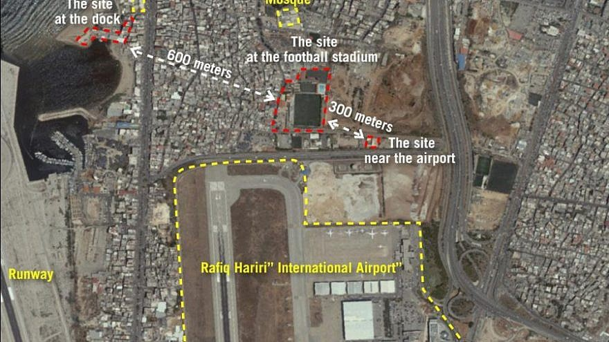A satellite image released by the Israel Defense Forces on Sept. 27, 2018, showing three production sites near Beirut's international airport used by Hezbollah to convert regular missiles into precision-guided missiles. Subsequently, the production plants were moved. Source: Israel Defense Forces.