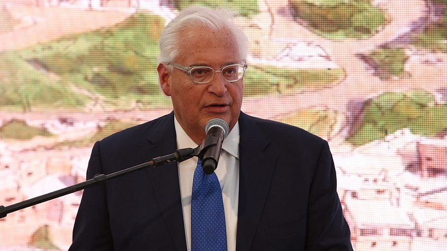 "U.S. Ambassador to Israel David Friedman addresses attendees at the opening of the ""Pilgrimage Road"" renovated by the City of David and excavated by the Israel Antiquities Authority, extending from the Siloam Pool to the Temple Mount. Credit: Ronen Tupelberg, City of David."