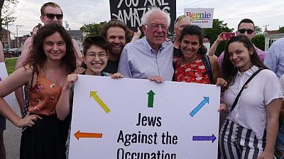IfNotNow members posing with 2020 Democratic presidential candidate Sen. Bernie Sanders (I-Vt.) on the campaign trail. Credit: IfNotNow via Facebook.
