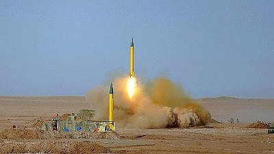 "The Shahab-3 missile, seen here during Iran's 2012 ""Great Prophet"" military exercise. The Shahab-3 is a medium-range ballistic missile capable of delivering nuclear weapons. Credit: Hossein Velayati via Wikimedia Commons."