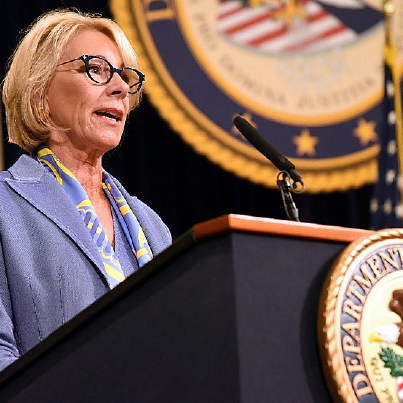 U.S. Secretary of Education Betsy DeVos speaking at the U.S. Department of Justice Summit on Combating Anti-Semitism on July 15, 2019. Credit: DOJ.