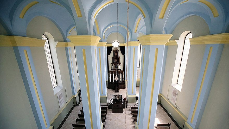 Interior of the newly restored Choral Synagogue in the Ukrainian town of Drohobych, July 3, 2019. Photo by Rephael Isaak Vilenskiy.
