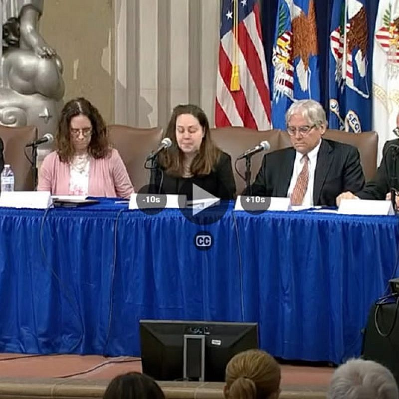JNS editor and chief Jonathan S. Tobin (left) as part of a panel of speakers at the U.S. Department of Justice Summit on Combating Anti-Semitism in Washington, D.C., July 15, 2019. Source: Screenshot.
