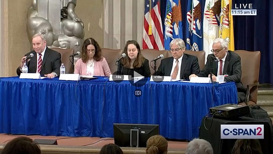 JNS editor in chief Jonathan S. Tobin (left) as part of a panel of speakers at the U.S. Department of Justice Summit on Combating Anti-Semitism in Washington, D.C., July 15, 2019. To his right is Alyza Lewin, president and general counsel of the Louis D. Brandeis Center for Human Rights Under Law. Source: Screenshot.
