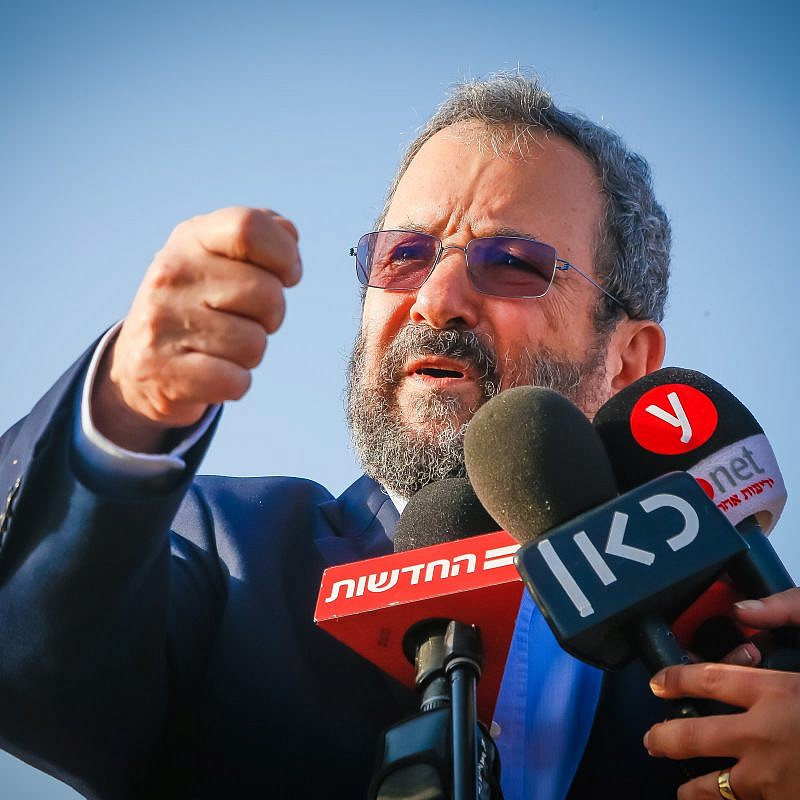 Ehud Barak, head of the Israel Democratic Party, gives a statement to the media during a visit to Ariel in the West Bank on July 16, 2019. Photo by Roy Alima/Flash90.