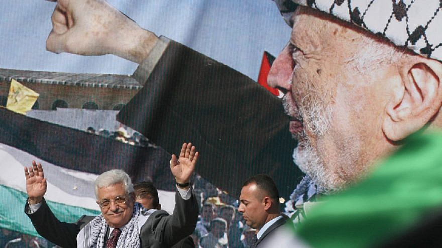 Palestinian Authority leader Mahmoud Abbas addresses a rally in Ramallah marking the 4th anniversary of the death of PLO leader Yasser Arafat, on Nov. 11, 2008. Photo:Issam Rimawi/Flash90.