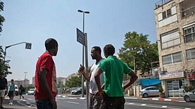 A group of young Eritrean people in Jerusalem, July 2012. Photo by Noam Moskowitz/Flash90.