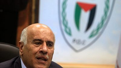 Fatah Central Committee secretary and president of the Palestinian Football Federation Jibril Rajoub speaks during a press conference in Ramallah on Feb. 12, 2014. Photo by Issam Rimawi/Flash90.