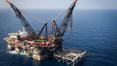 The Israeli Leviathan gas-processing rig near the city of Caesarea, on Jan. 31, 2019. Photo: Marc Israel Sellem/POOL.