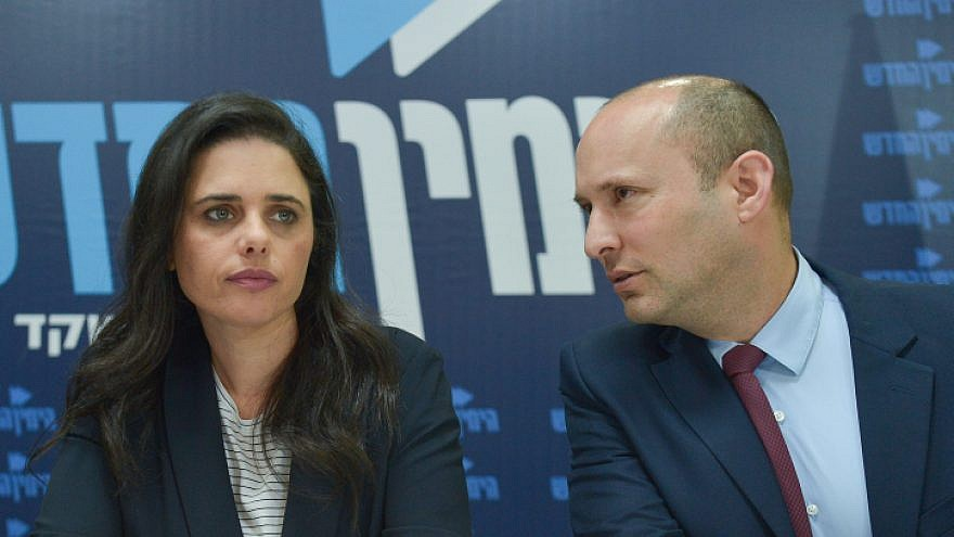 Israeli Education Minister Naftali Bennett and Justice Minister Ayelet Shaked hold a press conference of the New Right Party in Tel Aviv on March 17, 2019. Photo by Flash90.