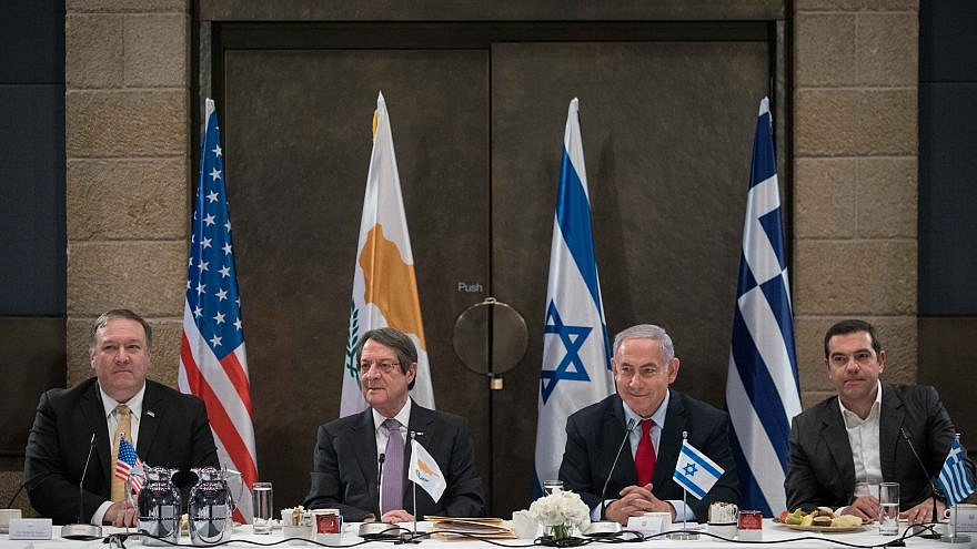 Israeli Prime Minister Benjamin Netanyahu holds a press conference with U.S. Secretary of State Michael Pompeo (left), President of Cyprus Nicos Anastasiades (second from left), and former Prime Minister of Greece Alexis Tsipras at the David Citadel Hotel in Jerusalem, on March 20, 2019. Credit: Noam Revkin Fenton/Flash90.