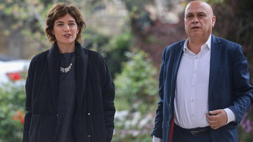 Tamar Zandberg and Issawi Frej of the Meretz Party arrive for a meeting with Israeli President Reuven Rivlin at the President's Residence in Jerusalem on April 16, 2019. Photo by Noam Revkin Fenton/Flash90.