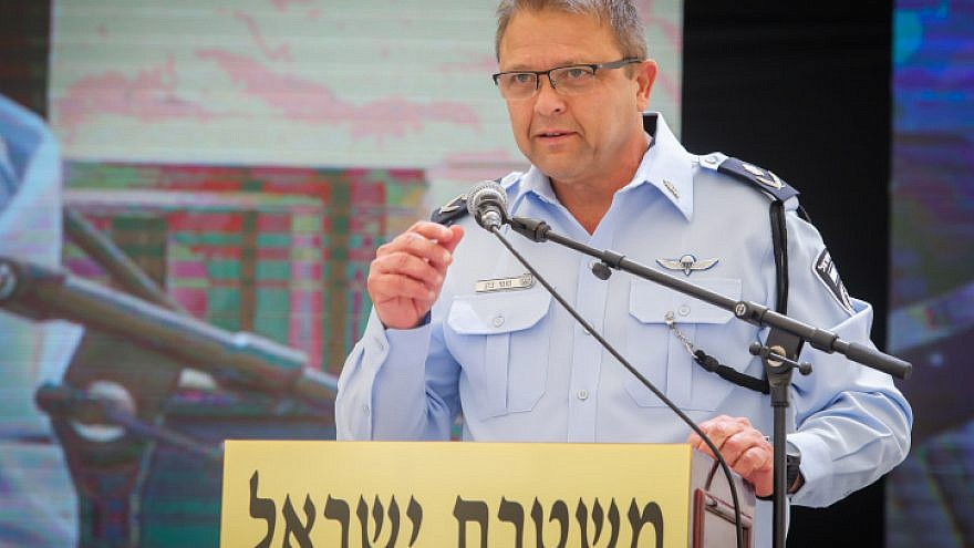 Acting Israel Police Commissioner Maj. Gen. Moti Cohen speaks at the Israel Police Independence Day ceremony in Jerusalem on May 5, 2019. Photo by Flash90.