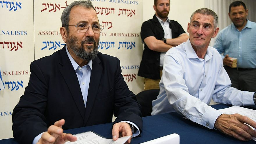Former Israel Prime Minister Ehud Barak (left) and IDF Maj. Gen. (ret.) Yair Golan attend a press conference announcing the establishment of a new political party led by Barak in Tel Aviv on June 26, 2019. Photo by Flash90.