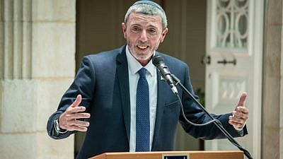 Education Minister Rafi Peretz speaks during exchange ceremony of ministers, held at the Education Ministry in Jerusalem, on June 26, 2019. Photo by Yonatan Sindel/Flash90.