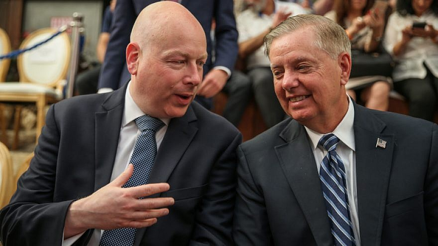 U.S. Middle East envoy Jason Greenblatt (left) speaks with U.S. Senator Lindsey Graham (R-S.C.) at the opening of an ancient road at the City of David archaeological site in eastern Jerusalem, June 30, 2019. Photo by Flash90.