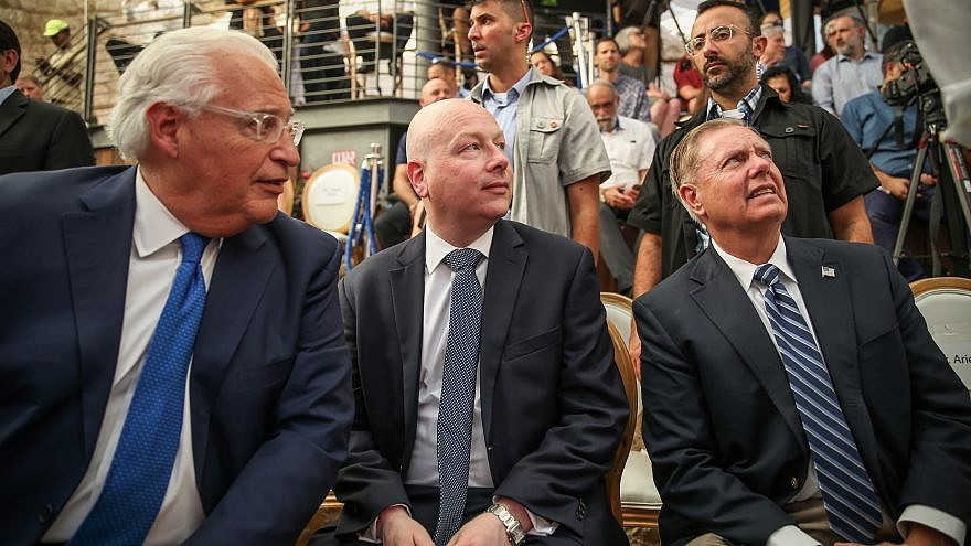 U.S. Ambassador to David Friedman with White House Middle East envoy Jason Greenblatt and United States Senator Lindsey Graham seen during the opening of an ancient road at the City of David archaeological site. June 30, 2019. Credit: Flash90