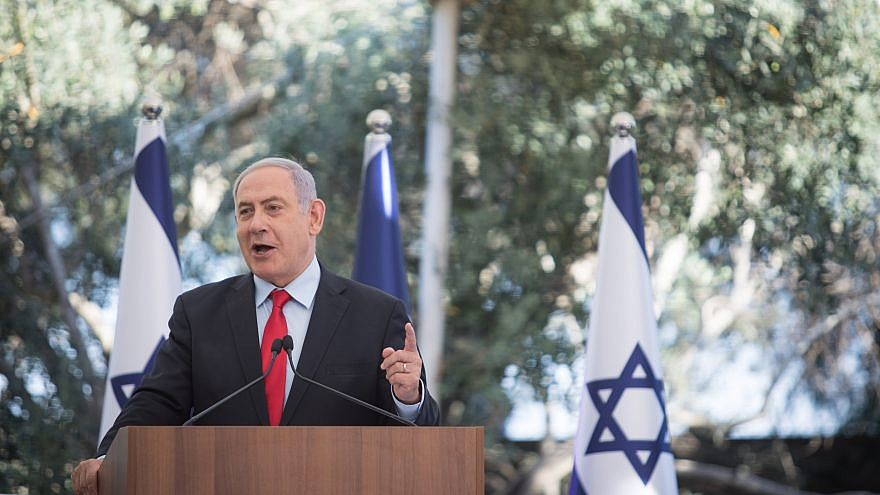 Israeli Prime Minister Benjamin Netanyahu speaks during an event honoring outstanding Israel Defense Forces' reservists at the President's Residence in Jerusalem on July 1, 2019. Photo by Hadas Parush/Flash90.