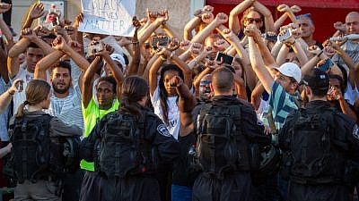 Ethiopian Israelis and supporters take part in a protest against police violence and discrimination following the death of 19-year-old Solomon Tekah, in Kiryat Ata on July 3, 2019. Photo by Flash90.