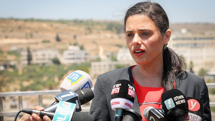 Yamina Party leader and former justice minister Ayelet Shaked speaks at a press conference in Efrat in the West Bank, July 22, 2019. Photo by Gershon Elinson/Flash90.