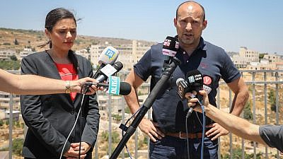 Ayelet Shaked, former Minister of Justice and head of the New Right party and Former Israeli Minister of Education and member of the New Right party Naftali Bennett attend a press conference in Efrat, July 22, 2019. Credit: Gershon Elinson/Flash90