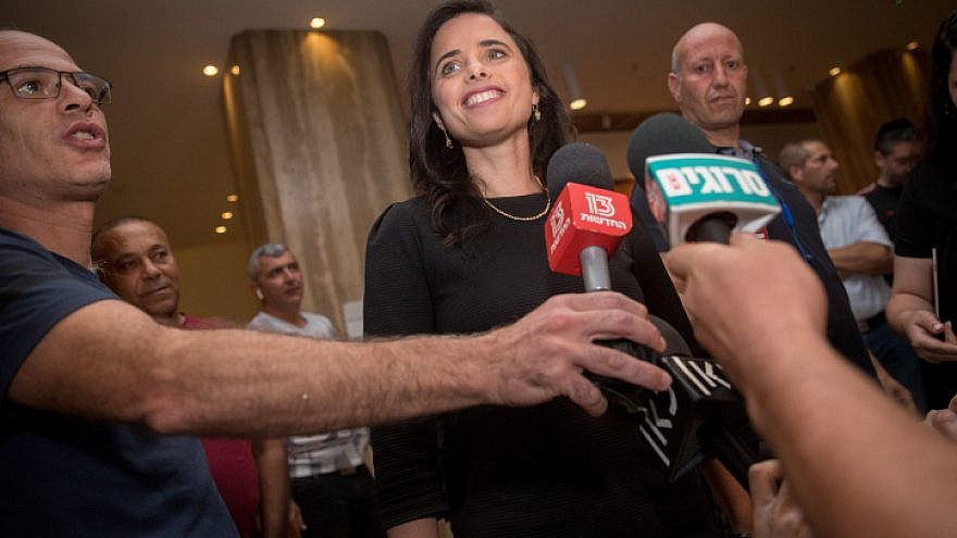 New Right Party chair Ayelet Shaked arrives at the Ramada Hotel in Jerusalem for a meeting with Jewish Home Party chair Rafi Peretz after announcing their union in Jerusalem ahead of the September elections, July 28, 2019. Photo by Yonatan Sindel/Flash90.