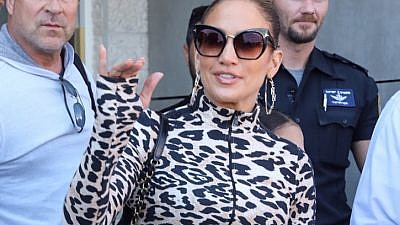 American actress and singer Jennifer Lopez  arrives at Ben-Gurion International Airport ahead of her concert in Tel Aviv on July 30, 2019. Photo by Flash90.