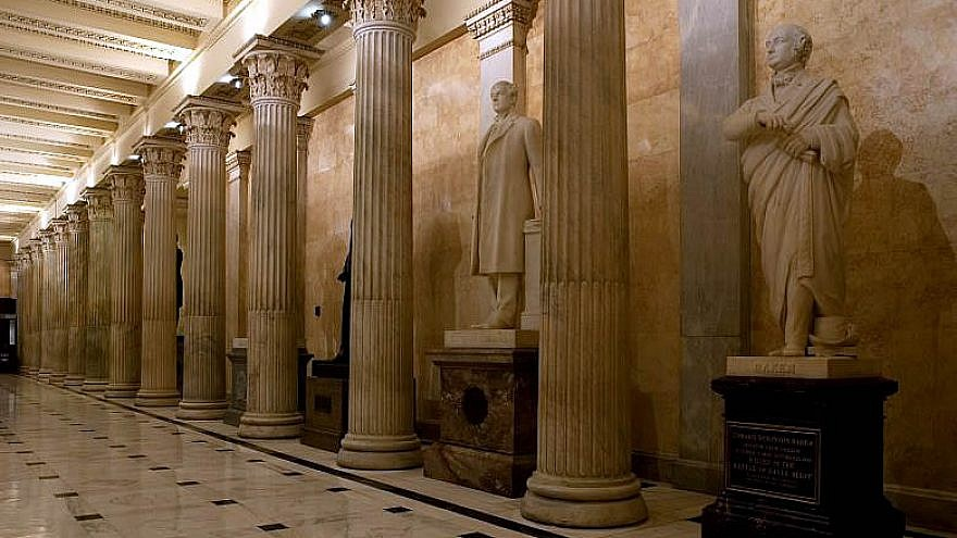 The Hall of Columns on the first floor of the House wing in the U.S. Capitol, directly beneath the Hall of the U.S. House of Representatives, is more than 100 feet long. It takes its name from the 28 fluted, white-marble columns that line the corridor. Credit: Flickr/www.aoc.gov.