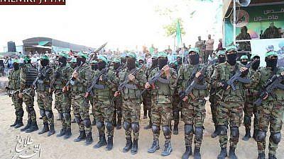 Participants in the Al-Qassam Brigades summer camp. (MEMRI)