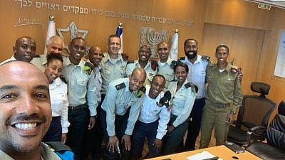 IDF Chief of Staff Lt. Gen. Aviv Kochavi meets with Ethiopian-Israeli officers to discuss racism and/or discrimination within the military, July 28, 2019. Credit: Courtesy.