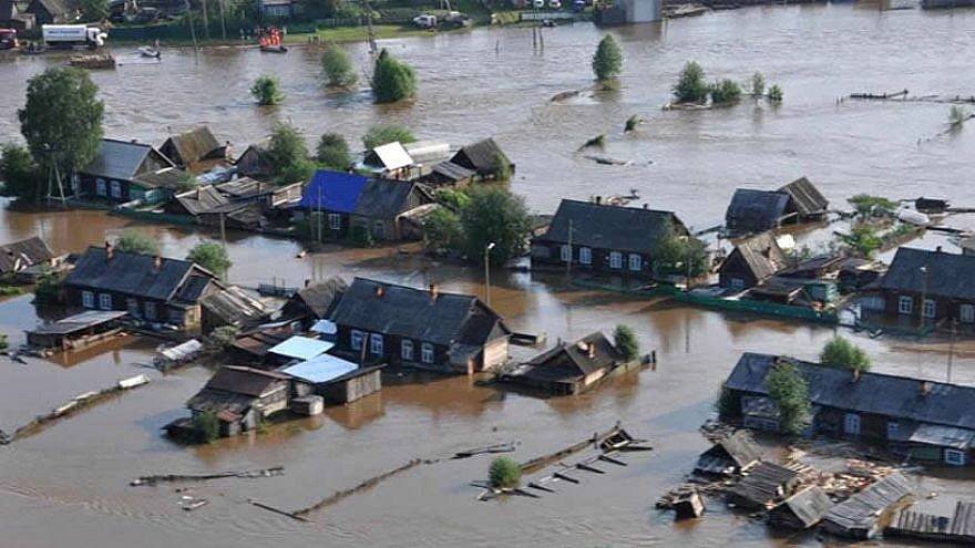 Severe flooding caused by torrential rains has devastated the Irkutsk district of Siberia, Russia, near the border with Mongolia, July 3, 2019. Credit: Chabad.org/News.