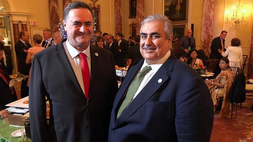 Israeli Foreign Minister Yisrael Katz (left) meets with and Bahraini Foreign Minister Khalid bin Ahmed Al Khalifa at the U.S. State department's Ministerial on Religious Freedom on July 18, 2019. Credit: Yisrael Katz/Twitter.