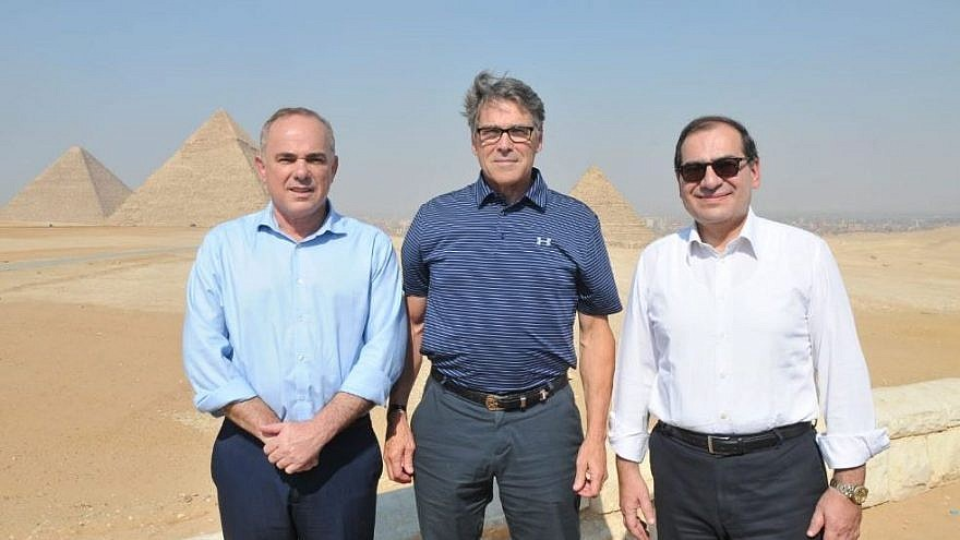 From left: Israeli Energy Minister Yuval Steinitz, U.S. Energy Secretary Rick Perry and Egyptian Energy Minister Tariq al-Mulla, July 25, 2019. Credit: Courtesy.